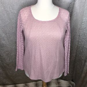 One September Pink Feathered Lace Shirt Size XL